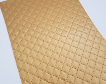 QUILTED GLOSSY: GOLDEN patent leather sheet,8x11 faux leather,gold quilted sheet,gold faux leather, gold vegan leather, quilted fabric