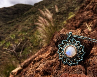 Rainbow moonstone Macrame mandala necklace gemstone flower pendant turquoise. Psychedelic jewelry festival accessory bohemian soul