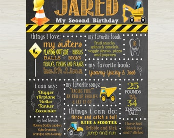 Chalkboard Style Birthday Poster- Construction -  Trucks- Nursery Wall Art, DIGITAL OR PRINTED