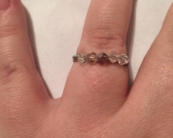 Pink five stone wire wrapped ring