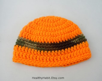 Chapeau de chasseur Crochet, Etsy chapeaux, chapeau de petit garçon, bonnet Orange, nouveau-né Photo Prop, Childs chapeau, saison de chasse, bande Orange Hat, automne Prop