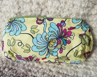 Flowery yellow makeup pouch or pencil case