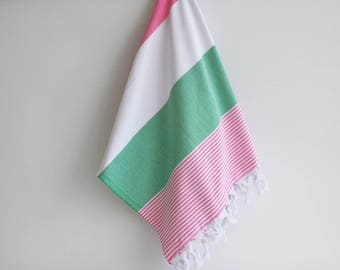 NEW / SALE 70 OFF/ BathStyle / Green - Pink / Turkish Beach Bath Towel / Wedding Gift, Spa, Swim, Pool Towels and Pareo
