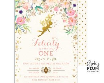 Fairy Birthday Invitation / Winter Fairy Birthday Invitation / First Birthday Invitation / Winter Wonderland Birthday Invitation / LPS0001