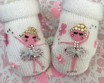 Ballerina baby girl shoes, newborn personalized shoes, Swarovski crystal baby shoes, baby christening shoes, baby arrival sparkle gift