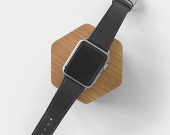 Apple Watch Charging Station – Honeycomb Shape Oak Docking Station