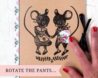 "Cahier ""Couple de souris""/ culotte rotative/ customisé/ impression original/cahier vintage/ cadeau original/ cadeau unique"