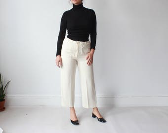 vintage cream cropped pants | drawstring trousers, small