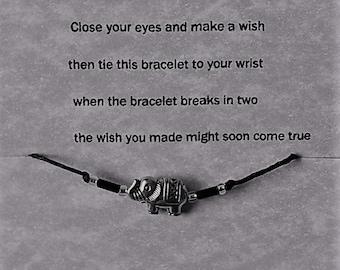 Elephant charm wish bracelet