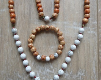 Wood and Howlite set