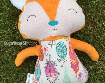 """Feathers Fox Plush. 17"""" tall stuffed doll. Fox Doll"""