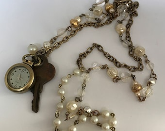 """Vintage Collage charm Key necklace Approximately  30"""" length"""