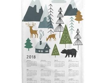 2018 Tea Towel Calendar Set - Winter alps adventure calendar 2018 by Heleen_vd_thillart - Linen Cotton Tea Towel Set by Roostery Spoonflower