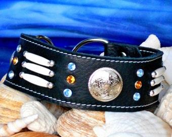 Dog Collar PUEBLO in black Leather, beaded Martingale Collar
