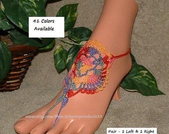 Hippie Clothes Beachwear ~ Barefoot Sandals ~  Boho Anklet Jewelry ~ Crochet Clothing Items ~ Ankle Bracelet ~ Beach Festival Shoes