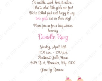 10  Twin Girls Baby Shower Laundry Invitations with Envelopes.  Free Return Address Labels