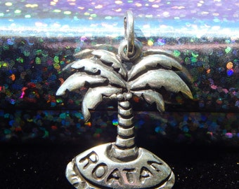 Vintage Honduras Roatan Coconut Palm Tree Sterling Silver Pendant