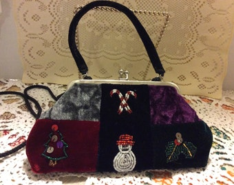 Vintage Velvet Holiday Evening Purse, Shabby Chic, Multi-color Velvet Evening Bag