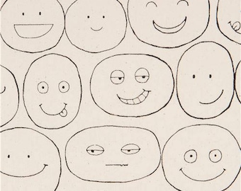218548 natural color with smiling face oxford fabric by Kokka