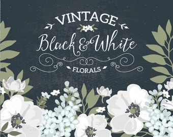 Vintage Black and White floral wreath clipart / wedding invitation clip art / hand drawn flowers, patterns / Vector, PNG, JPG / CM0049