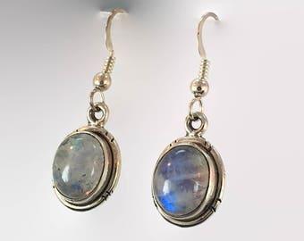 Moonstone Earrings, Blue Stone, Sterling Silver, Pierced Earrings, Rainbow, Dangle Earrings, Drop Earrings, Gemstones, Boho Bohemian, Ethnic