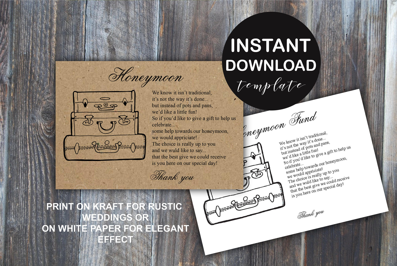 Wedding Gift Card Registry: Honeymoon Fund Wedding Insert Card Gift Registry Idea