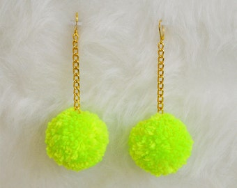 Handmade Mini Pom Pom Earrings with Gold Chain - Choose Your Color(s) - Lightweight