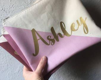 Personalized name color block BRIDESMAID Zipper Pouch Clutch Make up bag diaper bag accessory Custom colors MAUVE burgundy rose blush gold