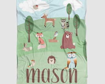 Personalized Minky Baby Blanket in Green, Blue and Brown Forest Scene. It's so Buttery soft!