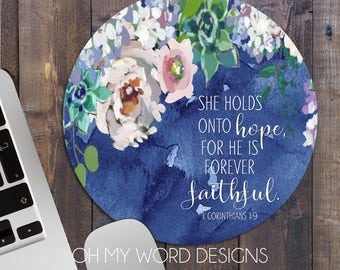 Inspirational Mouse Pad-Round Mouse Pad-Watercolor Flower Mouse Pad-Scripture-Bible Verse-Bible Journal