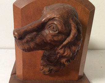 """Vintage pair of """"Setter"""" Wood bookends"""