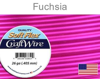 26 Gauge Fuchsia Silver Plated Wire, Soft Flex, Round, Non-Tarnish, Supplies, Findings, Craft Wire