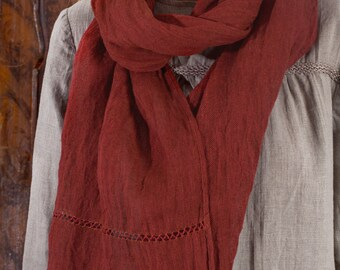 Pure Linen Deep Terracotta Scarf /Linen Shawl/ Linen Sheer Scarf Handstitched