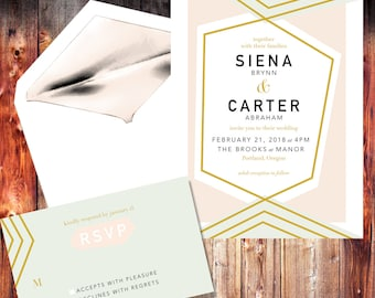 Wedding Invitation / Wedding Invites / Wedding Invitations / Gold / Instant Download / Digital Download / Custom / Personalized / Abstract