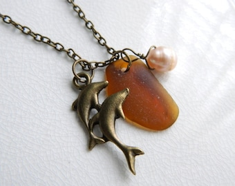 Amber Sea Glass Necklace & Antique Brass Dolphin Charm - Genuine Seaglass Jewelry, Brown Beach Glass