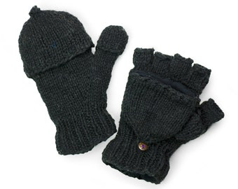Wool Convertible Mittens, Texting Gloves, Hand Knit Glittens - Black - 2663K
