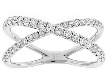 11975 8.2mm Wide Diamond X Ring in 18kt White Gold