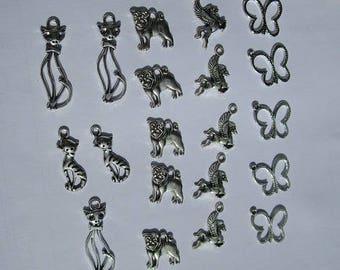 set of 20 animal charms