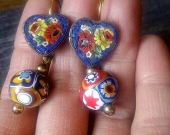 Vintage Micromosaic Millefiore OOAK Pierced Dangle Earrings, Heart Shaped, Blue roses, Jewelry gift for her