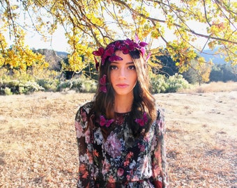 Amethyst Purple Crown, monarch headpiece, butterfly crown, bridal crown, costume headpiece, halloween, festival