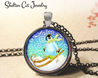 "Whimsical Penguin on Skis Necklace - 1-1/4"" Circle Pendant or Key Ring - Photo Art Jewelry - Wildlife, Holiday, Winter, Christmas Gift"