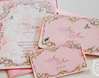 Wedding or Event Invitations la Belle Rouge Roses Marie Antoinette Custom Sample Set with Pink Shimmering  Envelopes