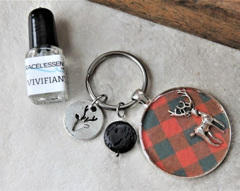 DIFFUSER KEYCHAIN, deer charm gift set, diffuser keychain, key ring, aromatherapy, unique gift, one of a kind gift, teacher gift, for him