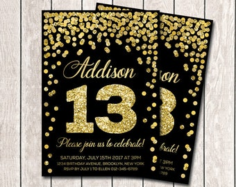 10th birthday invitation hot pink orange and gold confetti 13th birthday invitation girl birthday invites printable gold confetti birthday invitation any age birthday party invitation gold and black filmwisefo