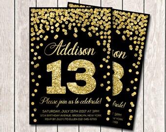 Girl birthday invite etsy 13th birthday invitation girl birthday invites printable gold confetti birthday invitation any age birthday party invitation filmwisefo Gallery