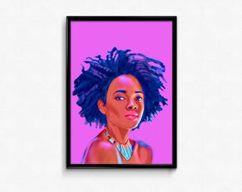 African Queen Natural Beauty Beautiful woman art prints poster
