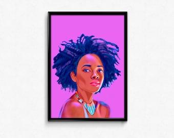 African Queen Natural Beauty Beautiful woman art prints poster