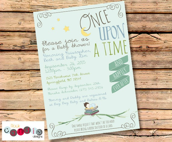Printable or printed book themed baby shower party invitation stopboris Images