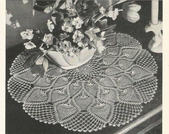 PDF Pineapple Crochet Doily Pattern Table Topper Center Piece Doiley Doily