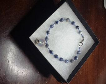 Sodalite Healing Crystal Bracelet Self-Confidence Self-Esteem Self-Acceptance Psychic Abilities Spiritual Path Anxiety Phobias Insomnia